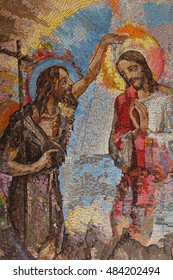 MEDJUGORJE, BOSNIA AND HERZEGOVINA, 2016/08/16. Mosaic of the baptism of Jesus Christ by Saint John the Baptist as the first Luminous mystery.