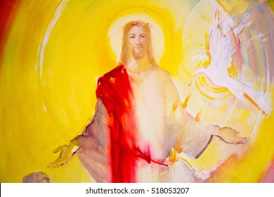 Medjugorje, Bosnia and Herzegovina 2016/11/13. Painting of Christ in glory and Holy Spirit descending upon apostles in form of dove and fire tongues. Found in chapel in Majcino selo (Mother's village)