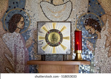 Medjugorje, Bosnia and Herzegovina 2016/11/13. Tabernacle with Eucharist and a sanctuary candle lamp in a chapel in Majcino selo (Mother's village).