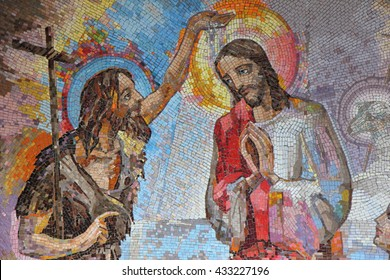 MEDJUGORJE, BOSNIA AND HERZEGOVINA, 2016/6/5. Mosaic of the baptism of Jesus Christ by Saint John the Baptist as the first Luminous mystery.
