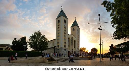 Medjugorje, Bosnia and Herzegovina - April, 2018. Saint James Church at sunset, Medjugorje, Bosnia and Herzegovina