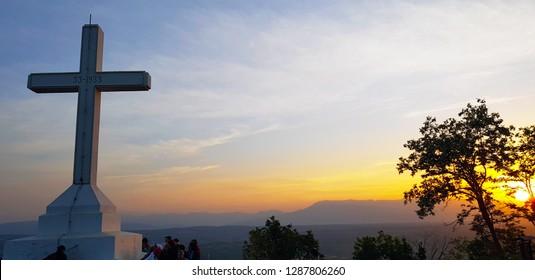 Medjugorje, Bosnia and Herzegovina - April, 2018. Cross at Križevac hill at sunrise, Medjugorje, Bosnia and Herzegovina