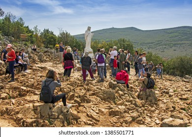 MEDJUGORJE, BOSNIA AND HERZEGOVINA - APRIL 21: Apparition hill Podbrdo of the Virgin Mary on April 21, 2019 in Medjugorje, Bosnia and Herzegovina.