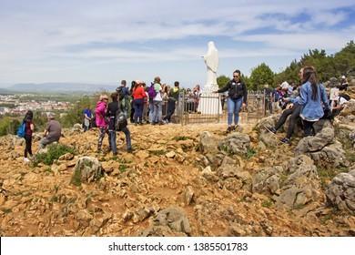 MEDJUGORJE, BOSNIA AND HERZEGOVINA - APRIL 21: Apparition hill Podbrdo of the Virgin Mary on April 21, 2019 in Medjugorje, Bosnia and Herzegovina.