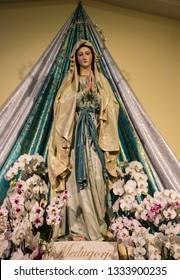 MEDJUGORJE, BOSNIA AND HERZEGOVINA - March 11, 2019: Our Lady statue in Medjugorje - popular site of Catholic pilgrimage in Bosnia and Herzegovina