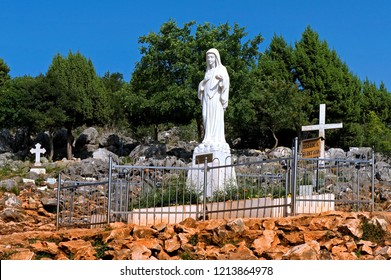 Medjugorje, Bosnia and Herzegovina - May 22 2009:  Statue of Virgin Mary at Podbrdo, place of apparition