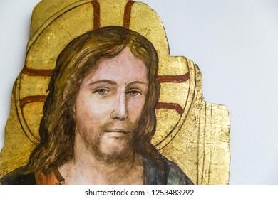 Medjugorje, Bosnia and Herzegovina - November 3, 2018: Jesus Christ is smiling an old painting