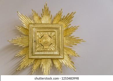 Medjugorje, Bosnia and Herzegovina - November 3, 2018: light is enlightening golden tabernacle
