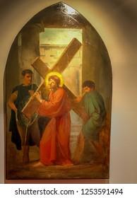 Medjugorje, Bosnia and Herzegovina - November 3, 2018: painting of Via Crucis: SECOND STATION, Jesus takes up his cross