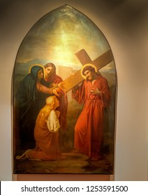 Medjugorje, Bosnia and Herzegovina - November 3, 2018: painting of Via Crucis: FOURTH STATION, Jesus meets his mother