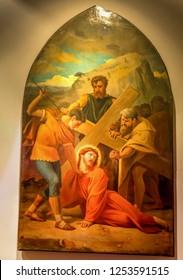Medjugorje, Bosnia and Herzegovina - November 3, 2018: painting of Via Crucis: SEVENTH STATION, Jesus falls for the second time