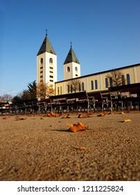 Medjugorje church landscape, with blue sky