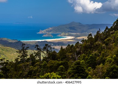Medlands beach view from Mt Hobson, Great Barrier Island, New Zealand
