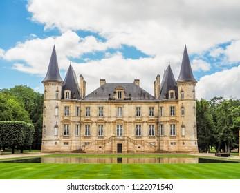 Medoc, Bordeaux / France - May 23 2014: View of Chateau Pichon Langueville in Medoc, Bordeaux