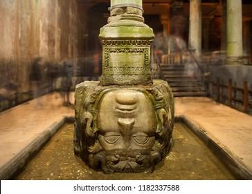 Medusa head in the Basilica Cistern in Istanbul, Turkey. ISTANBUL - DEC 1, 2017