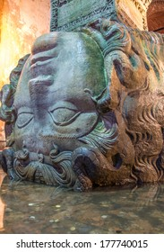 Medusa head sculpture used as a column base in the Basilica Cistern (Yerebatan Sarnici), Istanbul