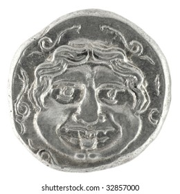 Medusa on ancient Greek half drachm from 300 BC