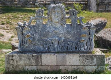 Medusa statue at Aizonai, Anatolia, Turkey