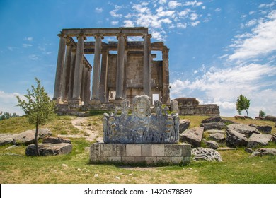 Medusa statue and Ancient Roman Zeus Temple at Aizonai, Anatolia, Turkey.