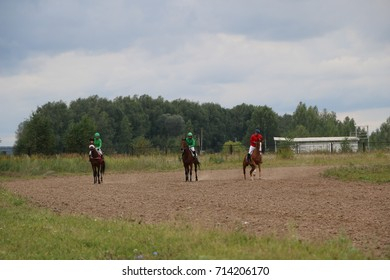 Medvedev, RUSSIA, AUGUST 26, 2017: Open championship on horse racing and jumping dedicated to the day of the settlement of Medvedeva - horse racing