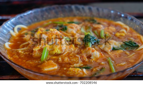 Mee Bandung Muar: Special dish noodle originated from Muar District, Johore, Malaysia. The Noodle is prepared  with special curry mixed with prawn and seafood.