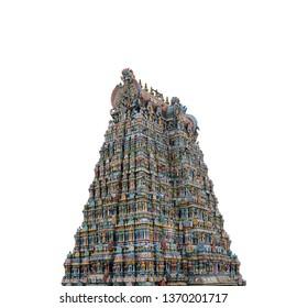 Meenakshi Temple isolated on white background. Also called Meenakshi Amman or Meenakshi-Sundareshwara Temple), it is a historic Hindu temple locatedin the temple city of Madurai, India