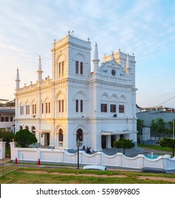 Meera Mosque of Galle Fort in bright sunset lights, Sri Lanka.