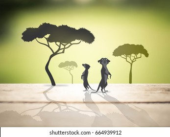 meerkats and trees in safari, animal save life concept, illustration mixed with photography style
