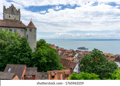Meersburg, BW / Germany - 22 June 2020: view of Meersburg on Lake Constance with the historic old castle and a passenger boat