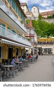 Meersburg, BW / Germany - 22 June 2020: view of the historic Seehof Hotel in the harbor in Meersburg on Lake Constance in southern Germany