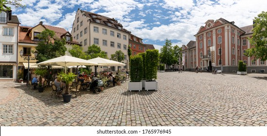 Meersburg, BW / Germany - 22 June 2020: tourists enjoying a day in Meersburg on Lake Constance in the restaurants at the Schlossplatz Square