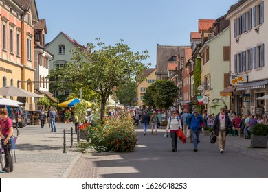 Meersburg, Germany - 07 Sep. 2015: Meersburg, a town in the southwestern German state of Baden-Wurttemberg. On the shore of Lake Constance (Bodensee), it's surrounded by vineyards.