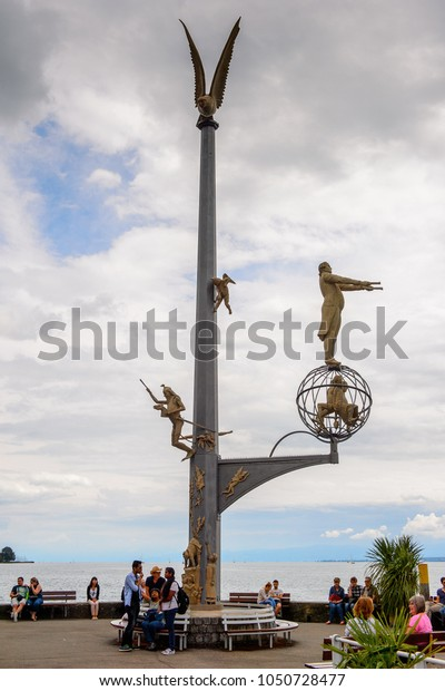 MEERSBURG, GERMANY - AUG 6, 2017: Monument in a port of Meersburg, a town of Baden-Wurttemberg in Germany at Lake Constance.