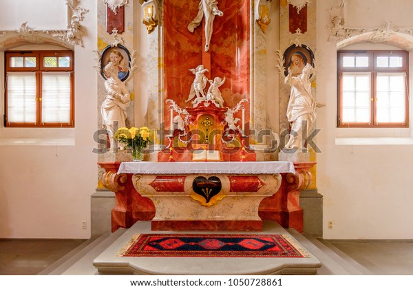 MEERSBURG, GERMANY - AUG 6, 2017: Interior of the church of Meersburg, a town of Baden-Wurttemberg in Germany at Lake Constance.