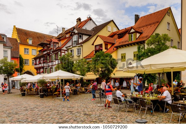 MEERSBURG, GERMANY - AUG 6, 2017: Typical architecture of Meersburg, a town of Baden-Wurttemberg in Germany at Lake Constance.