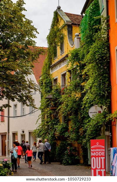 MEERSBURG, GERMANY - AUG 6, 2017: Beautiful house in Meersburg, a town of Baden-Wurttemberg in Germany at Lake Constance.