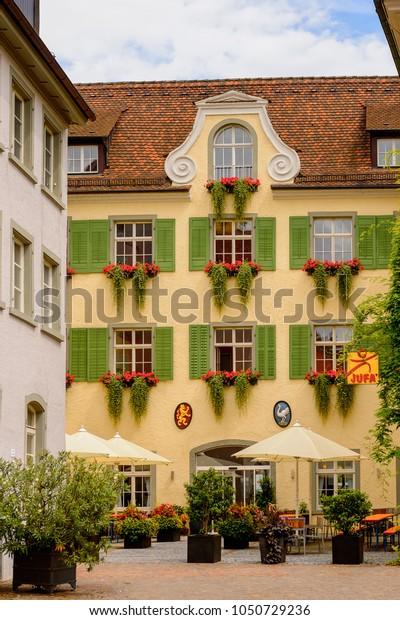 MEERSBURG, GERMANY - AUG 6, 2017: Beautiful house in Meersburg, a town of Baden-Wurttemberg in Germany at Lake Constance.