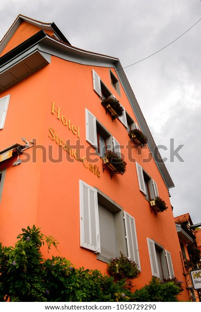 MEERSBURG, GERMANY - AUG 6, 2017: Architecture of Meersburg, a town of Baden-Wurttemberg in Germany at Lake Constance.