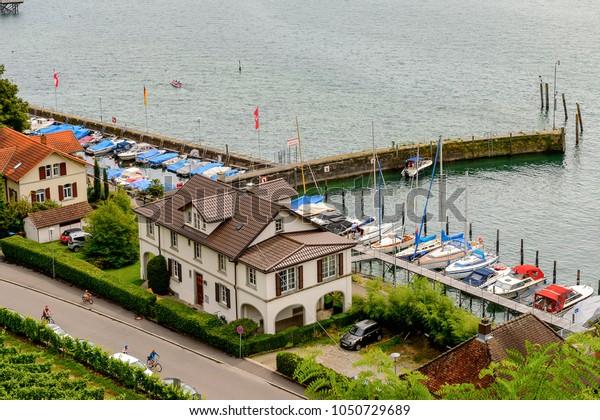 MEERSBURG, GERMANY - AUG 6, 2017: Harbour of Meersburg, a town of Baden-Wurttemberg in Germany at Lake Constance.