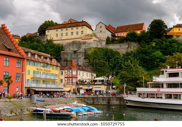 MEERSBURG, GERMANY - AUG 6, 2017: Port of Meersburg, a town of Baden-Wurttemberg in Germany at Lake Constance.