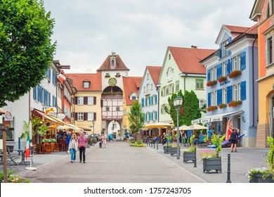 MEERSBURG, GERMANY - June 29, 2018: Street view of downtown Meersburg, Germany