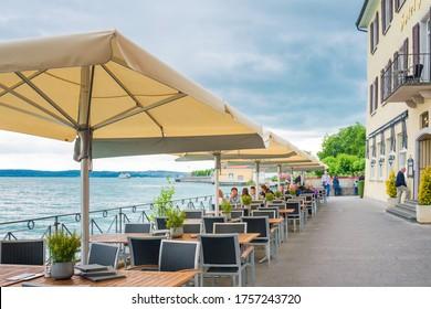 MEERSBURG, GERMANY - June 29, 2018: Restaurants in Old Town Meersburg, Germany