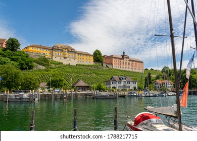 Meersburg, Germany - June 30, 2020: View of the lakeside promenade of Meersburg and Staatsweingut