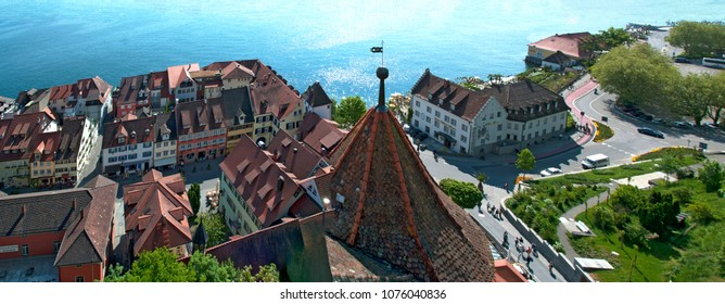 MEERSBURG, GERMANY -  MAY 4, 2011: view from the castle to the old town and the Bismarck square at lake constance