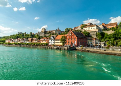 Meersburg, town in the German state of Baden-Wurttemberg on the shore of Lake Constance (Bodensee), famous for a Medieval Meersburg Castle. As seen from a ferry to Konstanz