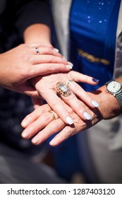 Meet of Three generation - woman hands holding together bride hand holds mums hands and grandmum hands