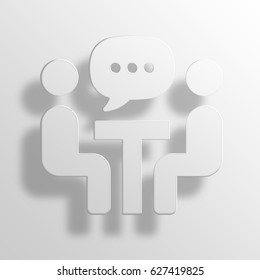 Meeting 3D Paper Icon Symbol Business Concept