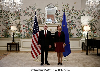 Meeting between US Vice President Mike Pence and Federica Mogherini, High Representative of the Union for Foreign Affairs at the Residence of the U.S. Ambassador in Brussels, Belgium on Feb. 20, 2017