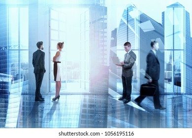 Meeting and crowd concept. Businesspeople standing in abstract interior with sunlight. Double exposure