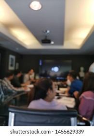 Meeting with Diverse People in Meeting Room. Blurred De-focused
